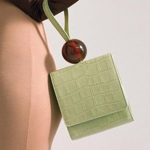 Small Flap Box Bag Crocodile Pattern Acrylic Ball